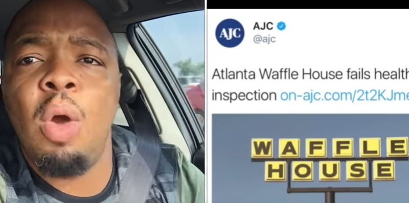 "Comedian Kevin Frederick says, ""Mind Your Business, AJC!"" when he finds out his favorite Waffle House failed its health inspection. Still image from his YouTube channel."
