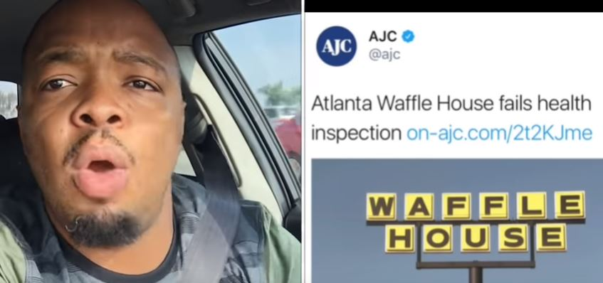 """Comedian Kevin Frederick says, """"Mind Your Business, AJC!"""" when he finds out his favorite Waffle House failed its health inspection. Still image from his YouTube channel."""