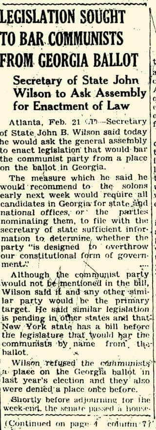 1943 Georgia ballot access legislation